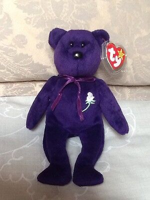 Ty Beanie Baby Princess Diana Purple Bear 1997 PE pellets Indonesia with tags