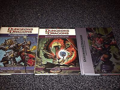 3 books dungeons and dragons 4th edition players handbook monster manual DMG