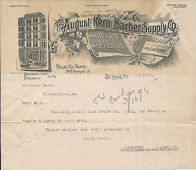 1895 St Louis MO August Kern Barber Supply Co Letterhead
