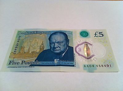 Five Pound £5 Bank Of England New Polymer Note AA04 458491
