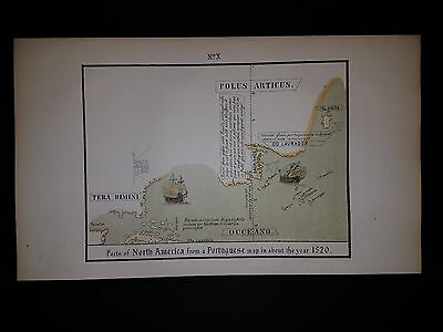 North America West Indies New England Labrador Ciszo Map Hand Colored Pub. 1869