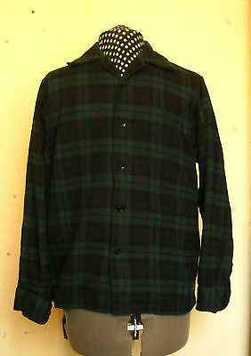 Vintage 1960s PENDLETON WOOL BOARD SHIRT Black Watch tartan (plaid surf surfer)