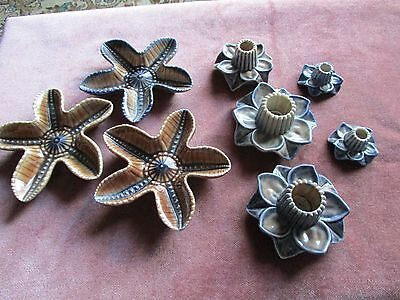 WADE, Items, 3 Star Shaped Wade Pin Trays and 5 Wade Candle Holders.