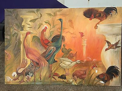 Oil on Canvas. Painting Of Birds . Large. Signed