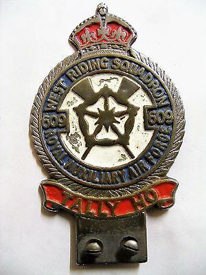 Old Royal Auxiliary Air Force 609 Squadron Car Badge Yorkshire Birmingham Medal