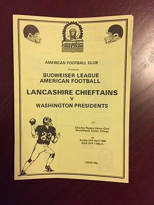 Lancashire Chieftans v Washington Presidents 1986 American Football Programmes