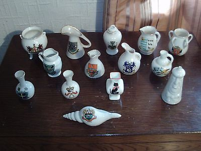 14 items of crested china to inc black cat and Grafton, Arcadian and others