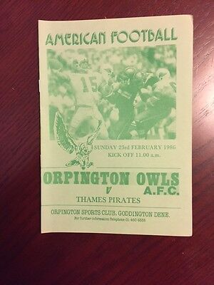Orpington Owls v Thames Pirates 1986 American Football Programmes 8 pages