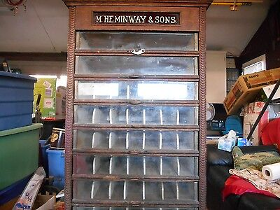 M. Heminway & Sons Silk Co Antique Spool Cabinet late 1800's