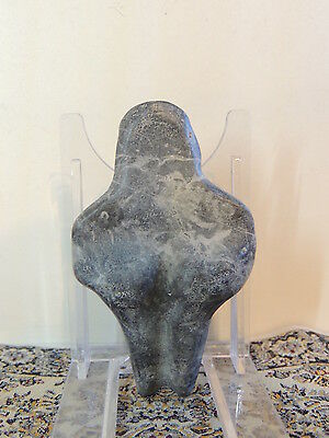 Antique Black Stone Figure statuette,mother godess,fertility,humanoid alien,idol