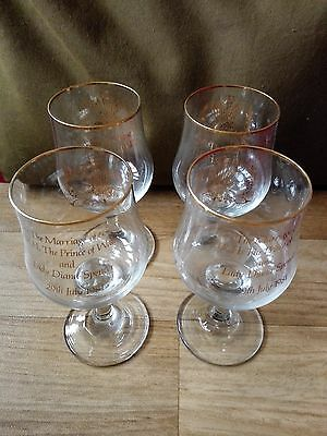 Prince of Wales and Diana Marriage champagne glasses set of 4 Glass Goblets