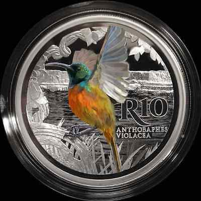 2016 SA MINT COLOURED COIN SERIES Crown size Orange Breasted Sunbird R10 Silver