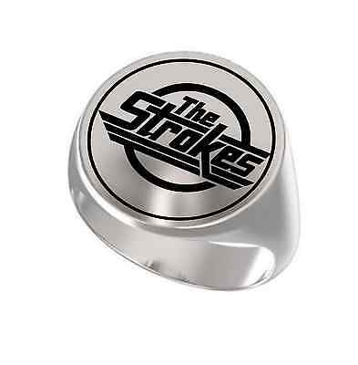 The Strokes Rock Band Engraved Round 925 Sterling Silver Ring The Strokes Band