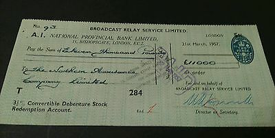 National provincial bank cheque bishopsgate London 1957 (8x3)