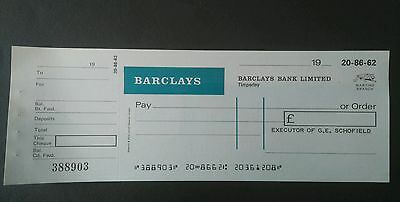 unused cheque barclays bank with counterfoil ( Martins bank logo)