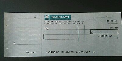Vintage British cheque BARCLAYS mint unused /counterfoil 1