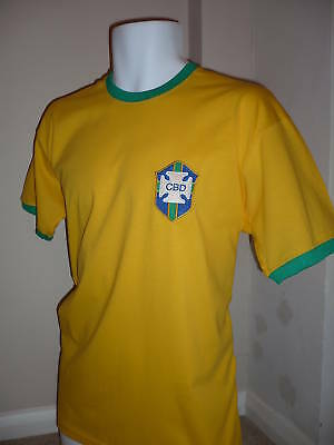 RETRO Brazil 1970 Embroidered Football T-Shirt