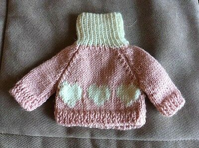 Knitted Sweater for Teddy Bear Pink & White With Heart design