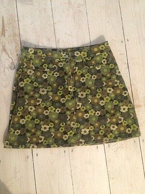 Vintage, Floral Camouflage Denim Skirt, Age 12/sz 4-6,Benetton, Army, Green,punk