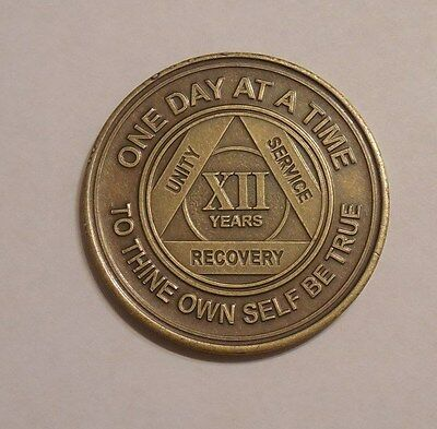 aa bronze alcoholics anonymous 12 year sobriety chip coin token medallion