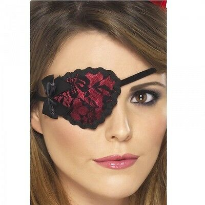 Ladies Pirate Eyepatch Fancy Dress Costume Accessory Womens Red and Black