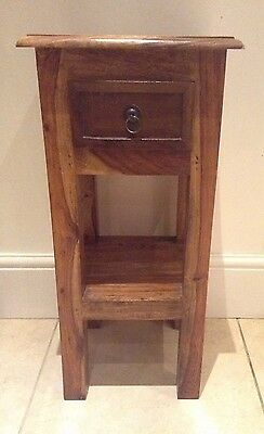 Jali Solid Wood Small Side Table with Drawer