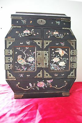Antique Black Lacquered and Mother of Pearl Japanese Tansu Jewellery Cabinet