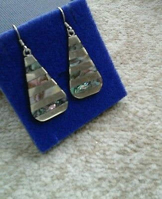 925  silver earrings with shell inlay approx 1.5 in made in mexico