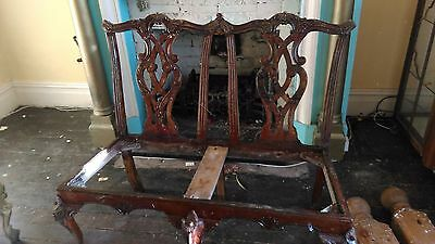 Vintage High Back Carved Double Chair
