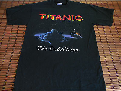 Vtg 90s Titanic The Exhibition Movie T-Shirt Size Small Black 100% Cotton
