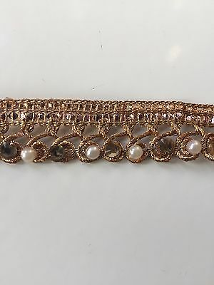 ATTRACTIVE INDIAN BRAIDED ANTIQUE COPPER CRYSTAL & PEARL LACE TRIM-SOLD by METER