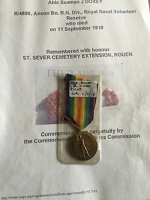 First World War Victory Medal To A Casualty
