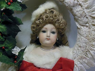 Vintage Bisque Porcelain Victorian Doll Head Hand Made Wreath Christmas Holiday