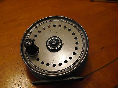 """Vintage fishing reelA.J.W.Young Beaudex 4"""" salmon fly reel in rarer grey finish"""