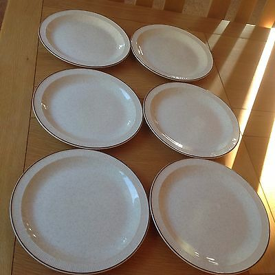 Six Poole Parkstone Design Large Dinner Plates 10in VGC