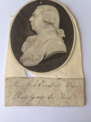 Portrait Etching KING GEORGE III GEORGIAN ROYALTY C1803