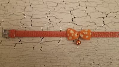 hand crafted orange kitten collar with flower print bow