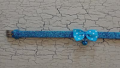 hand crafted bright blue glitter kitten collar with spotty bow