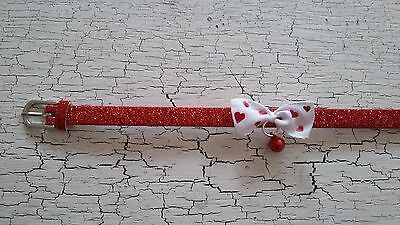 hand crafted red glitter kitten collar with heart bow