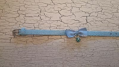 hand crafted baby blue kitten collar with blue bow
