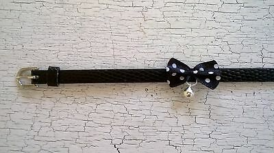 hand crafted black kitten collar with black spotty bow