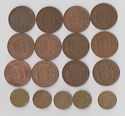 Jersey 12 x Penny and 5 x Threepence coins, mixed dates from 1945 to 1966