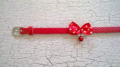 hand crafted red kitten collar with red spotty bow