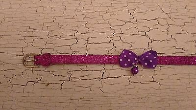 hand crafted purple glitter kitten collar with spotty bow