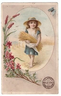 1890's Trade Card Clark's Spool Cotton Young Harvest