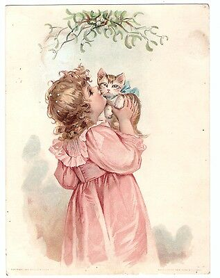 1890's Trade Card Woolsen Spice Toledo Lion's Coffee Kissing the Cat