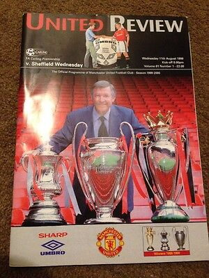 United Review Manchester Utd Programme Sheff Wed August 1999 Treble Man Utd