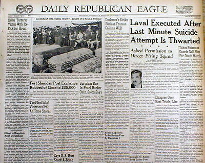 1945 WW II newspaper EXECUTION of FRENCH Traitor PIERRE LAVAL Nazi Collaborator