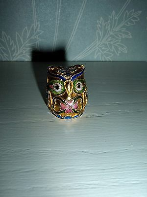 """Cloisonne miniature Owl gold and multi-coloured 1"""" high"""