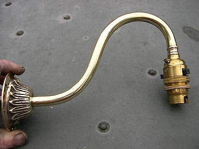 Original Early Electric Brass Wall Bracket Lamp Light Like Gas Lamp, Switched